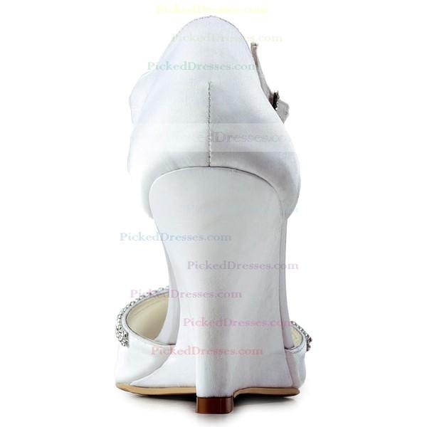 Women's Satin with Buckle Crystal Wedge Heel Sandals Peep Toe Wedges