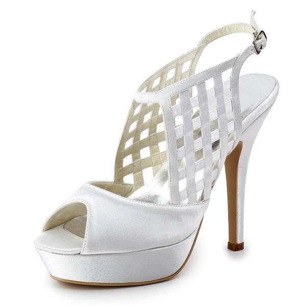 Women's Satin with Buckle Braided Strap Stiletto Heel Sandals Peep Toe Platform Slingbacks