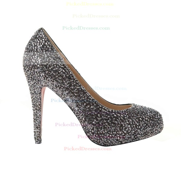 Women's Black Suede Closed Toe/Pumps with Sequin