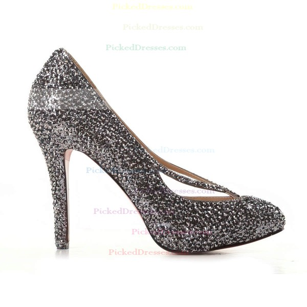 Women's Black Suede Pumps/Closed Toe/Platform with Sequin