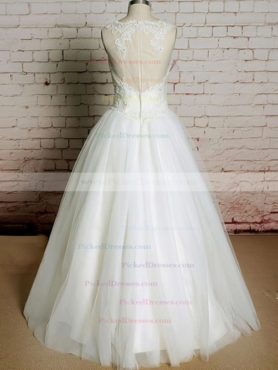 Best Scoop Neck Ivory Tulle Appliques Lace Ball Gown Wedding Dress #PDS00020565