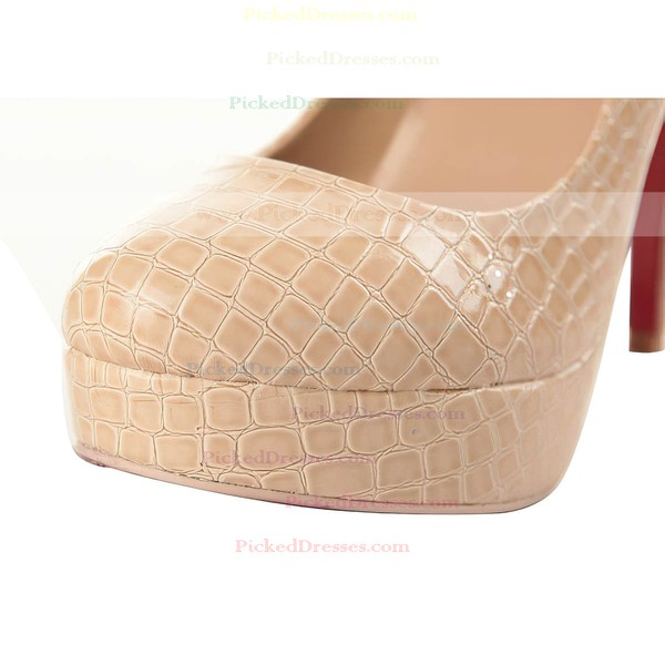 Women's Pink Patent Leather Pumps/Closed Toe/Platform