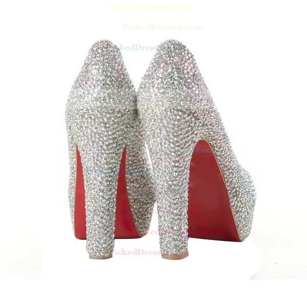Women's Multi-color Suede Pumps/Peep Toe/Platform with Crystal
