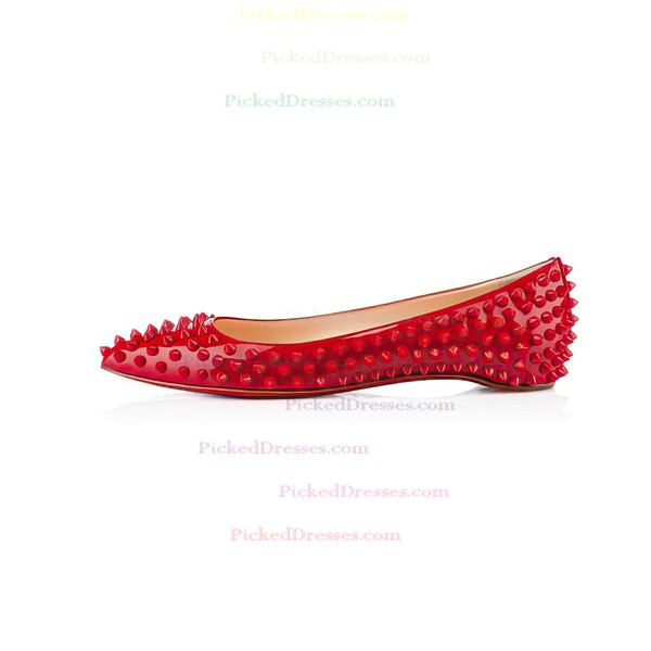 Women's Red Patent Leather Flats with Others