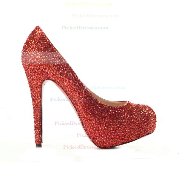 Women's Red Suede Pumps/Closed Toe/Platform with Crystal