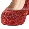 Women's Red Suede Pumps/Closed Toe/Platform with Crystal #PDS03030198