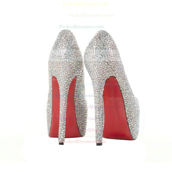 Women's Multi-color Suede Pumps/Closed Toe/Platform with Crystal