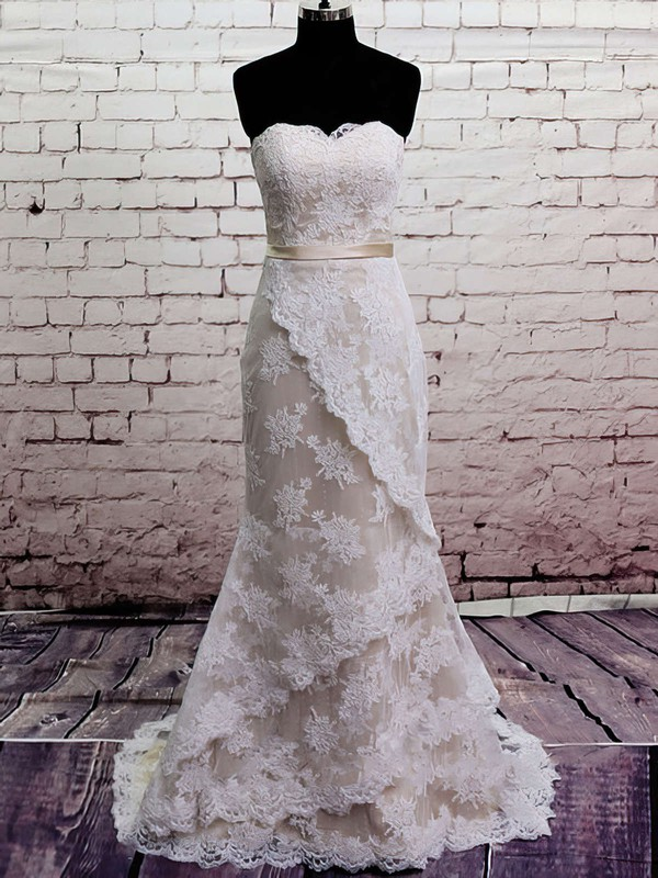 Vintage Strapless Lace Satin Sashes/Ribbons Trumpet/Mermaid Wedding Dress #PDS00020566