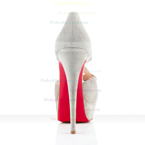 Women's White Suede Platform/Peep Toe/Pumps
