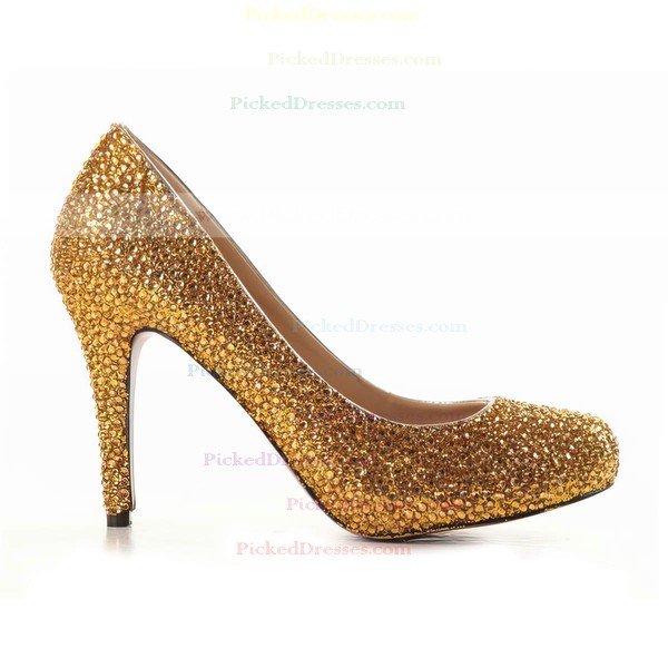 Women's Gold Suede Pumps/Closed Toe with Crystal