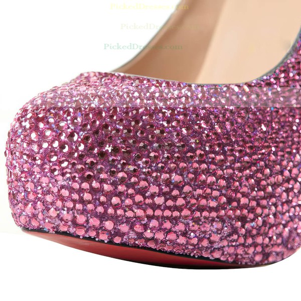 Women's Fuchsia Suede Pumps/Closed Toe/Platform with Crystal