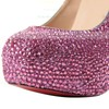 Women's Fuchsia Suede Pumps/Closed Toe/Platform with Crystal #PDS03030203