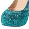Women's Blue Suede Pumps/Closed Toe/Platform with Crystal #PDS03030204