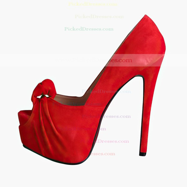 Women's Red Suede Platform/Peep Toe/Pumps with Ruched