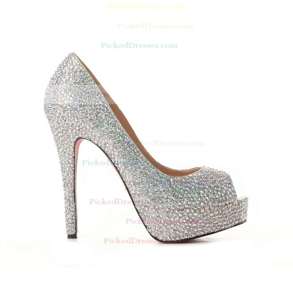 Women's Multi-color Suede Platform/Peep Toe/Pumps with Crystal