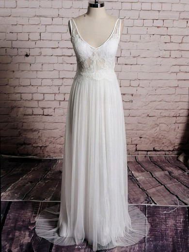 Sheath/Column Ivory Tulle Appliques Lace Open Back V-neck Wedding Dress #PDS00020567
