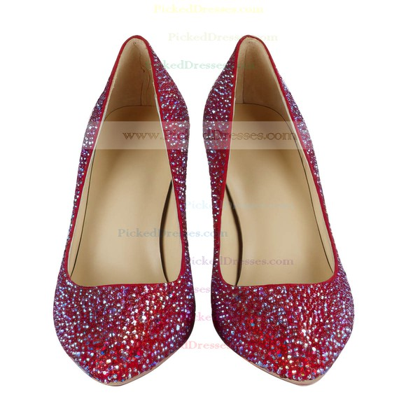 Women's Red Suede Closed Toe/Pumps with Crystal Heel/Sparkling Glitter