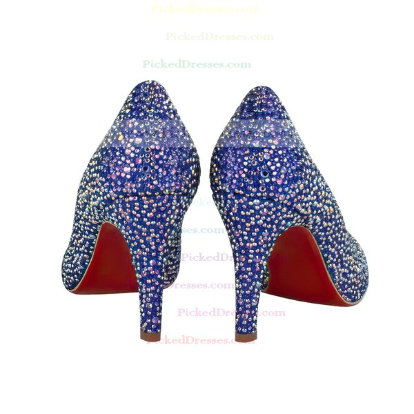 Women's Blue Suede Closed Toe/Pumps with Crystal/Crystal Heel