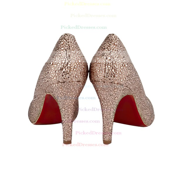 Women's Champagne Suede Closed Toe/Pumps with Crystal/Sparkling Glitter/Crystal Heel