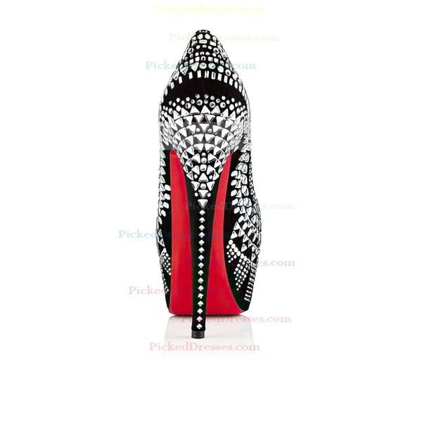 Women's Silver Suede Platform/Pumps with Rhinestone/Jewelry Heel