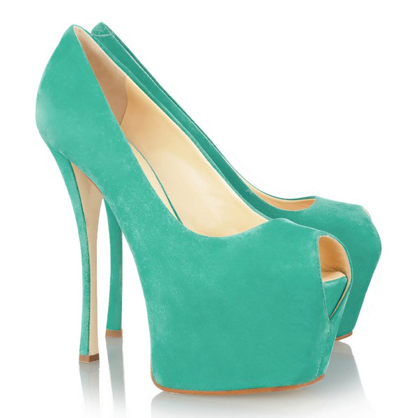 Women's Green Cloth Pumps/Peep Toe/Platform