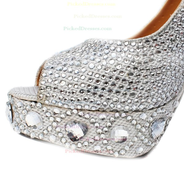 Women's Silver Sparkling Glitter Pumps/Peep Toe/Platform with Crystal Heel/Rhinestone