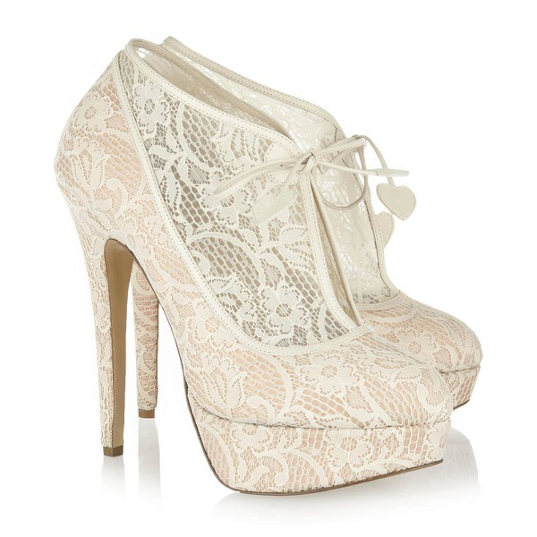 Women's Champagne Lace Pumps/Closed Toe/Platform with Ribbon Tie