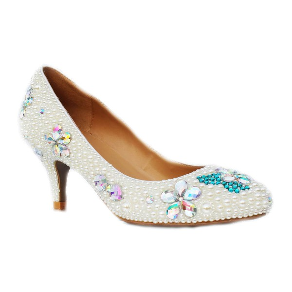 Women's Ivory Patent Leather Closed Toe/Pumps with Rhinestone/Imitation Pearl