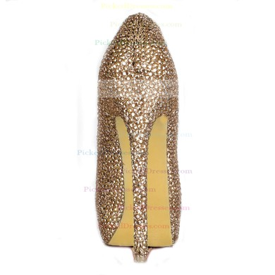 Women's Champagne Suede Platform/Pumps with Crystal/Crystal Heel #PDS03030223