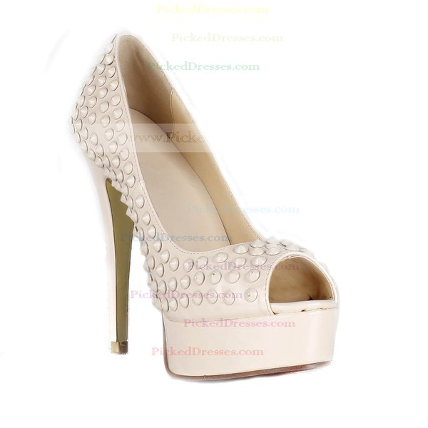 Women's Ivory Patent Leather Pumps/Peep Toe/Platform