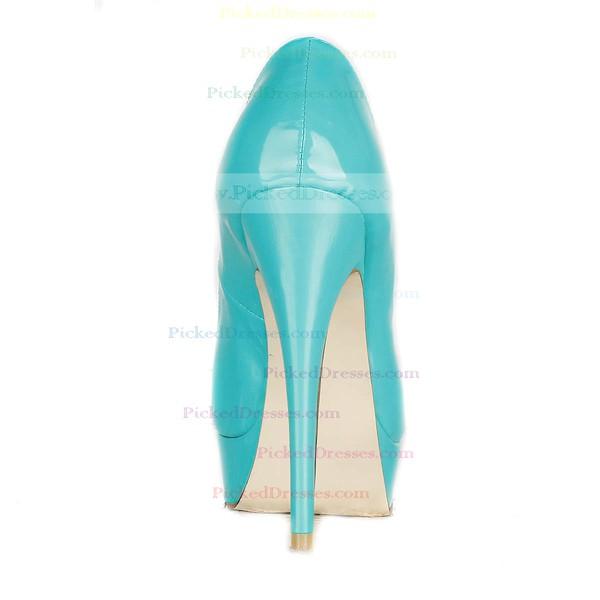Women's Green Patent Leather Pumps/Peep Toe/Platform