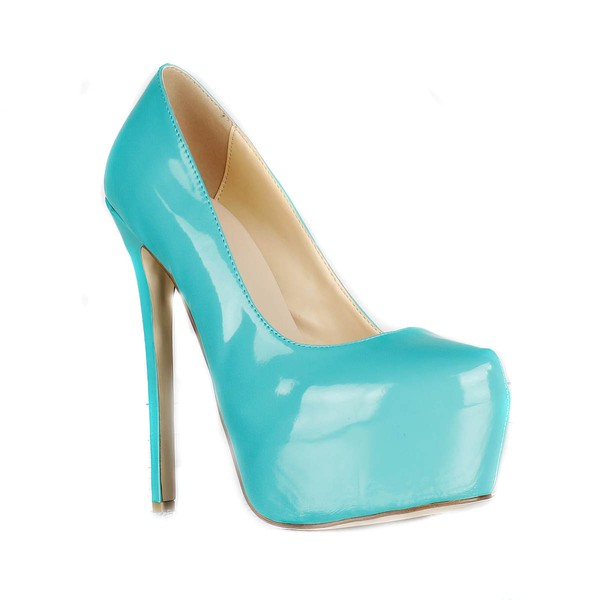 Women's Green Patent Leather Pumps/Closed Toe/Platform