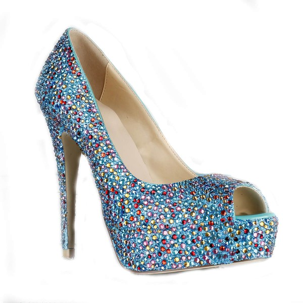 Women's Multi-color Suede Pumps/Peep Toe/Platform with Crystal Heel/Sparkling Glitter