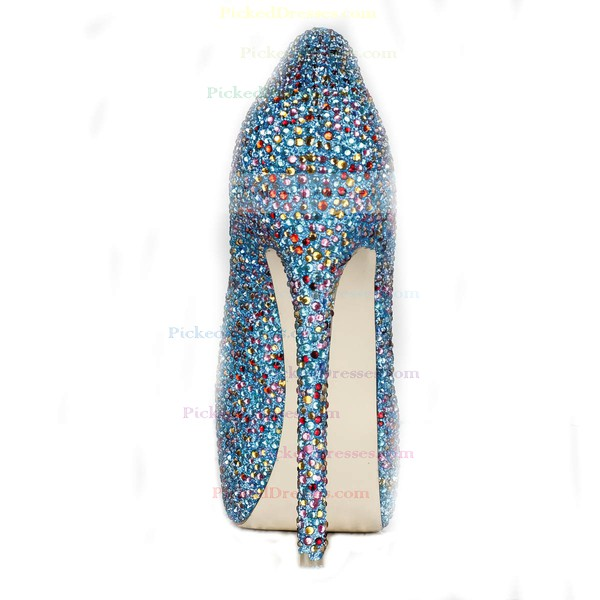 Women's Multi-color Suede Pumps/Closed Toe/Platform with Crystal Heel/Sparkling Glitter