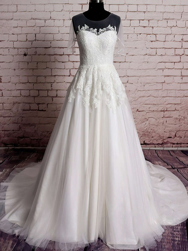 Ivory Tulle Satin with Appliques Lace Scoop Neck Short Sleeve Sweep Train Wedding Dresses