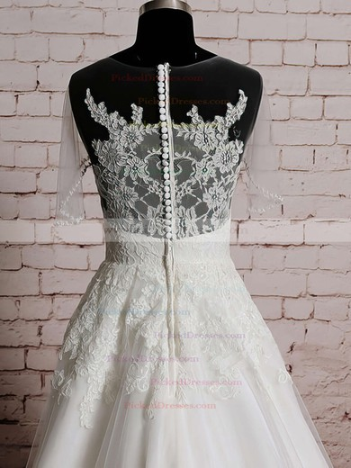 Ivory Tulle Satin with Appliques Lace Scoop Neck Short Sleeve Sweep Train Wedding Dresses #PDS00020569