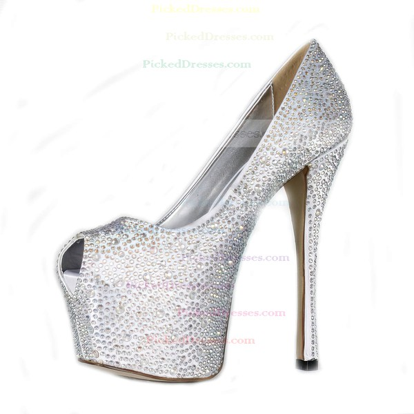 Women's Silver Satin Pumps/Peep Toe/Platform with Crystal Heel/Rhinestone
