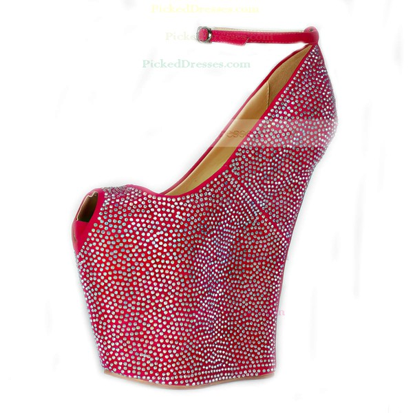 Women's Fuchsia Cloth Peep Toe/Platform/Wedges with Crystal