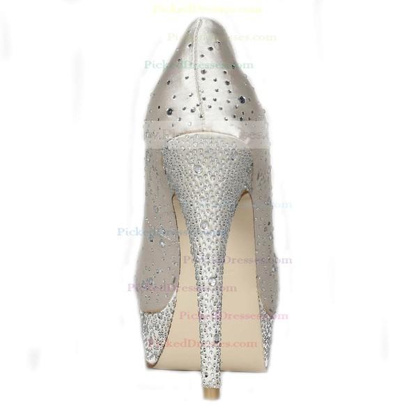 Women's Ivory Satin Pumps/Peep Toe/Platform with Crystal