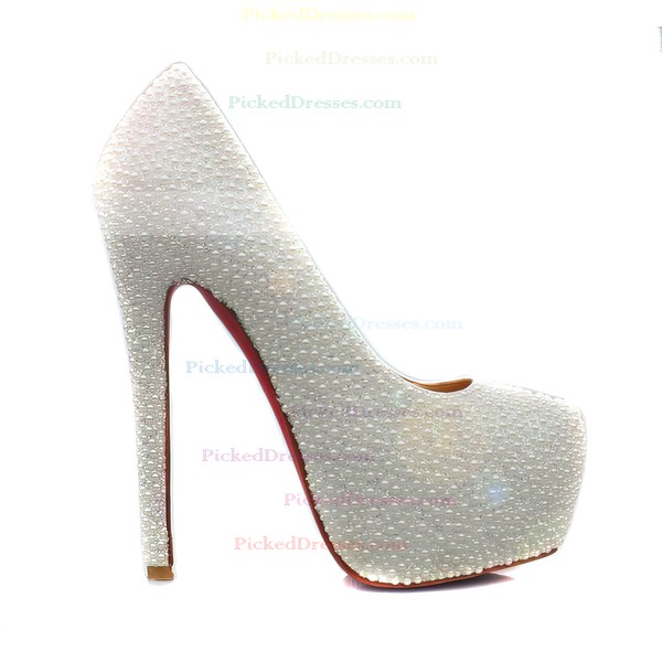Women's White Suede Pumps/Closed Toe/Platform with Imitation Pearl
