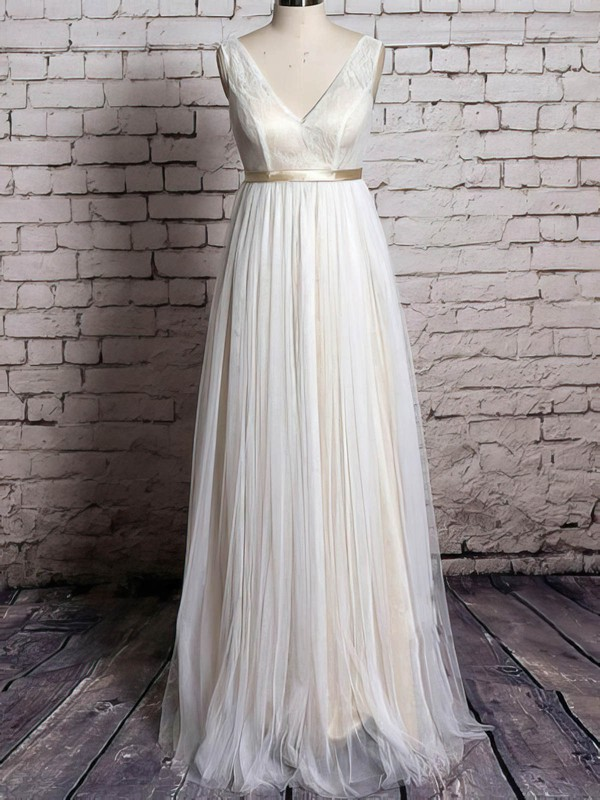 Ivory Tulle Lace with Sashes/Ribbons Floor-length V-neck Wedding Dress
