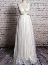 Ivory Tulle Lace with Sashes/Ribbons Floor-length V-neck Wedding Dress #PDS00020570