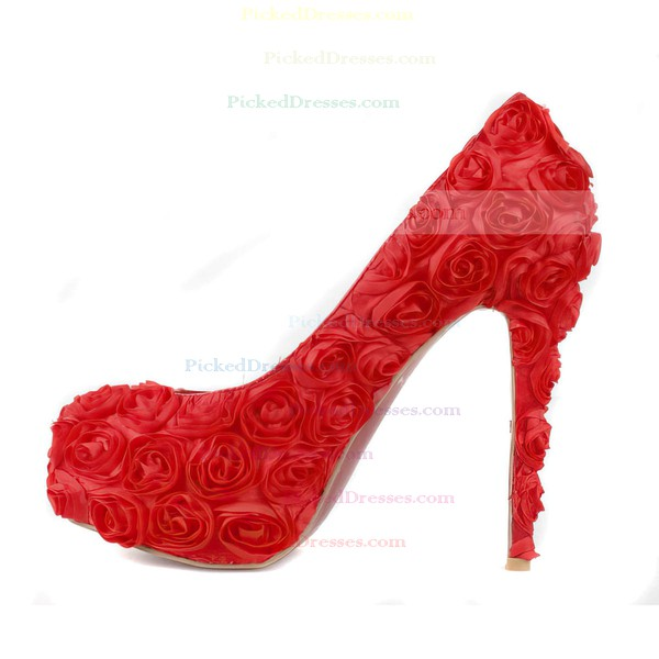 Women's Red Suede Pumps/Closed Toe/Platform with Satin Flower