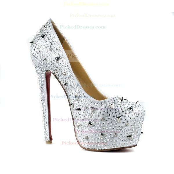 Women's Silver Satin Pumps/Closed Toe/Platform with Crystal Heel/Crystal