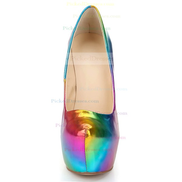 Women's Multi-color Patent Leather Pumps/Closed Toe/Platform