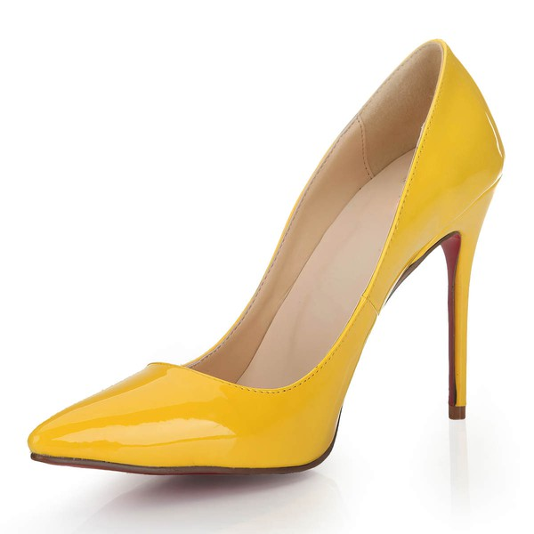 Women's Yellow Patent Leather Pumps/Closed Toe