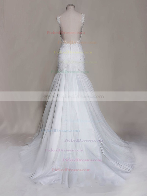 Sweetheart White Tulle Appliques Lace Open Back Trumpet/Mermaid Wedding Dress #PDS00020571