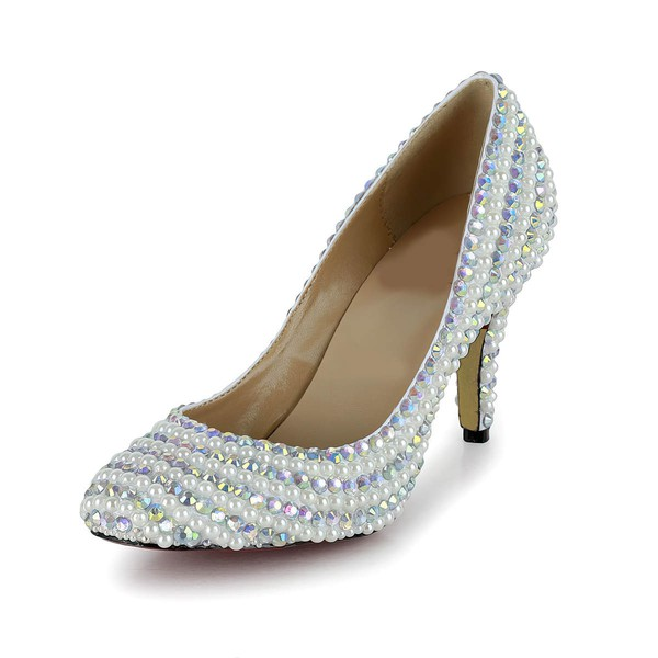 Women's White Patent Leather Pumps/Closed Toe with Imitation Pearl/Crystal/Crystal Heel