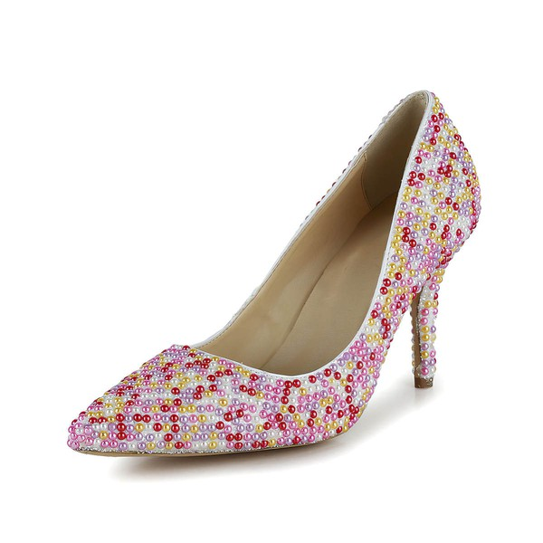 Women's Multi-color Patent Leather Closed Toe/Pumps with Imitation Pearl