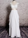 Ivory Chiffon Lace with Sashes/Ribbons V-neck Sheath/Column Wedding Dresses #PDS00020572